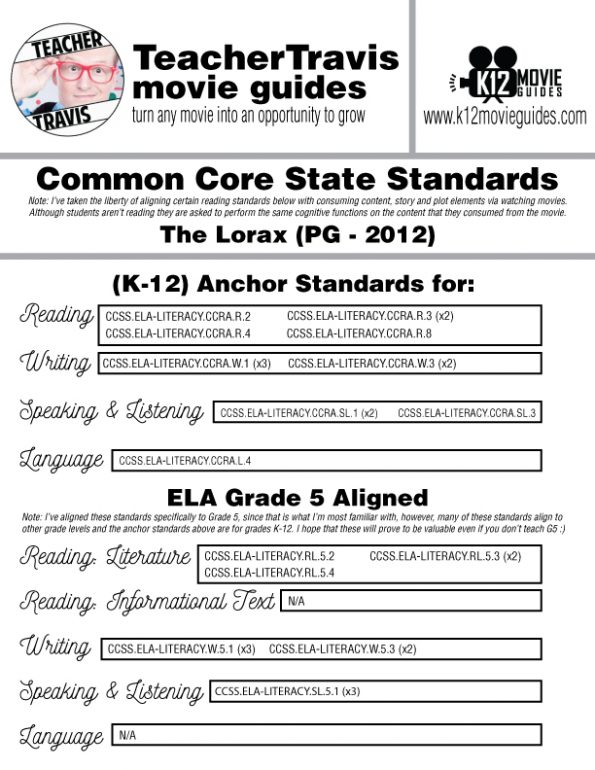 The Lorax Movie Guide | Questions | Worksheet (PG - 2012) CCSS Alignment