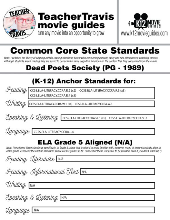 Dead Poets Society Movie Guide | Questions | Worksheet (PG - 1989) CCSS Alignment