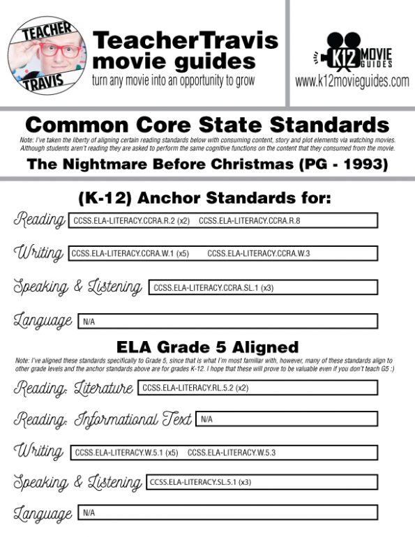 The Nightmare Before Christmas Movie Guide | Questions | Worksheet (PG - 1993) CCSS Alignment