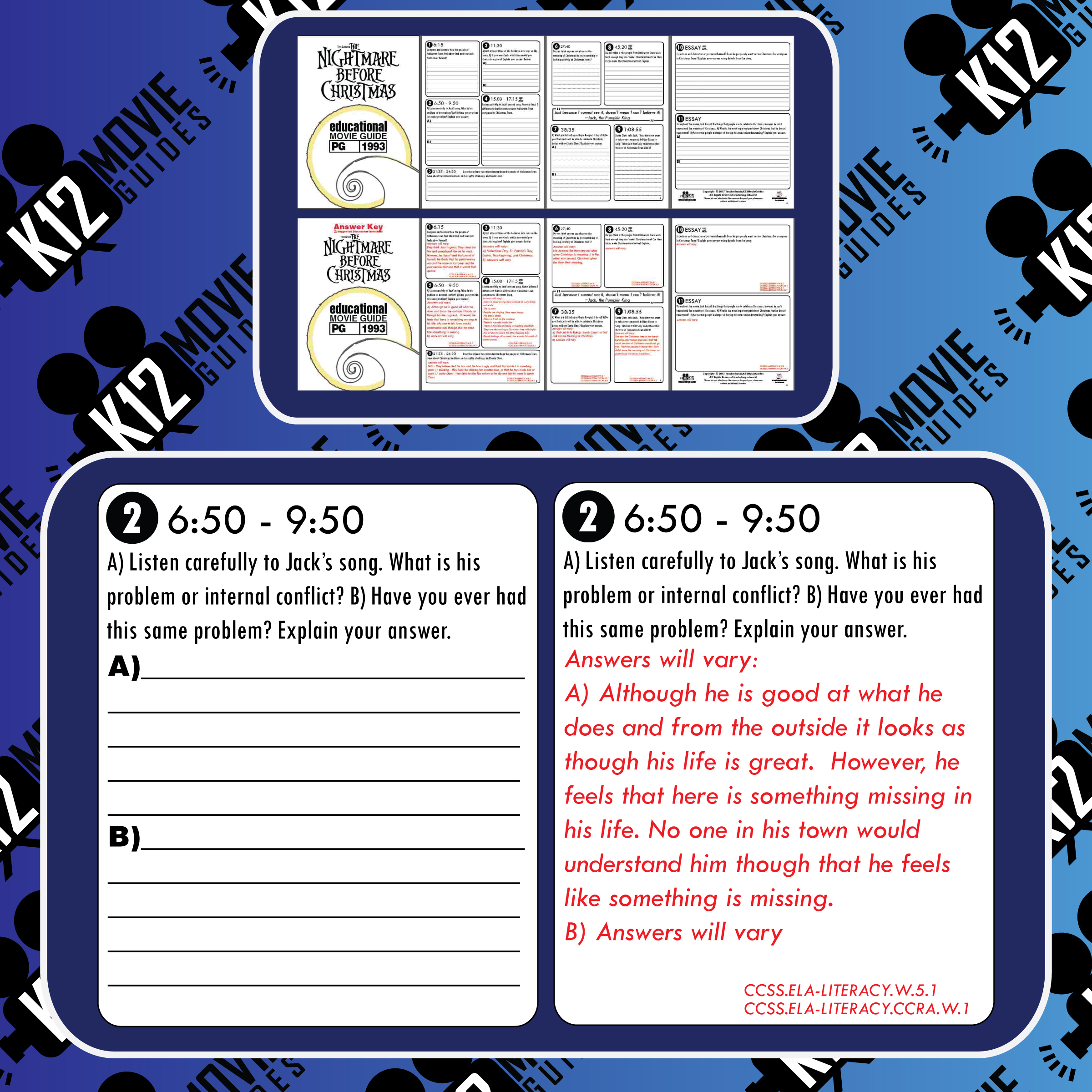 The Nightmare Before Christmas Movie Guide | Questions | Worksheet (PG - 1993) Free Sample
