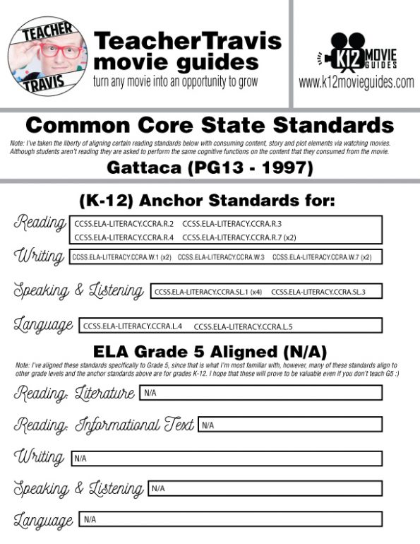 Gattaca Movie Guide | Questions | Worksheet (PG13 - 1997) CCSS Alignment