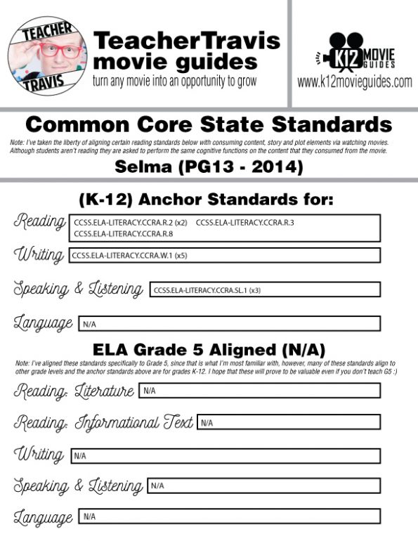 Selma Movie Guide | Questions | Worksheet | Google Forms (PG13 - 2014) CCSS Alignment