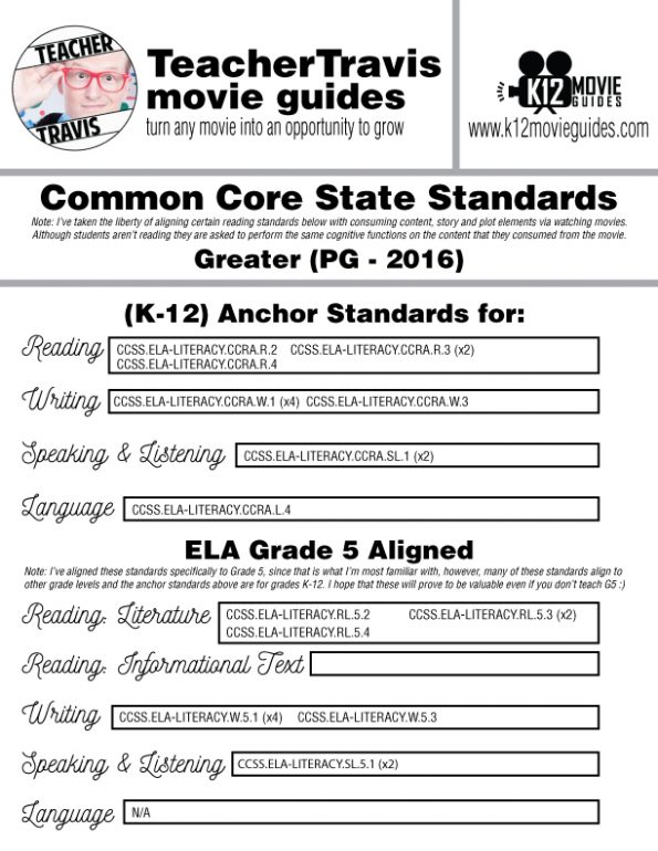 Greater Movie Guide | Worksheet | Questions | Google Form (PG - 2016) CCSS