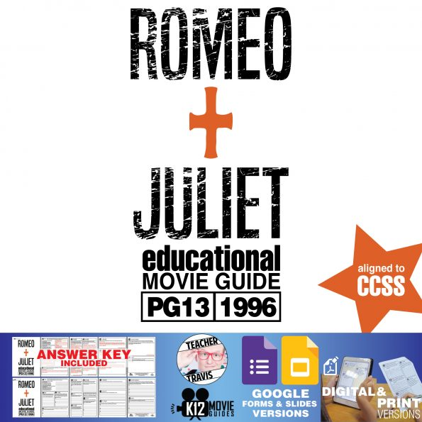 Romeo + Juliet Movie Guide | Questions | Worksheet | Google Form (PG13 - 1996) Cover