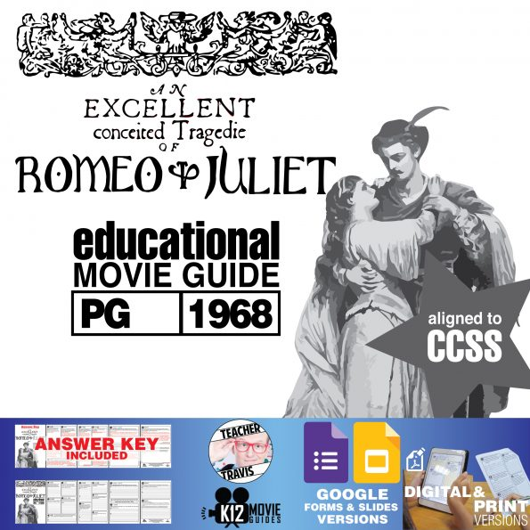 Romeo and Juliet Movie Guide   Questions   Worksheet   Google Formats (PG-1968) Cover
