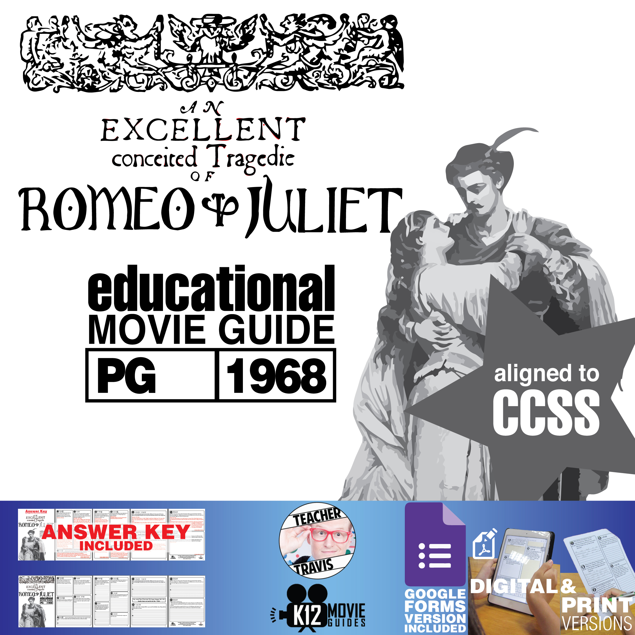 Romeo and Juliet Movie Guide | Questions | Worksheet (PG - 1968) Cover