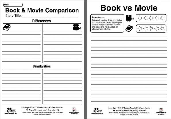 Free! Book & Movie Comparison Worksheet Sample