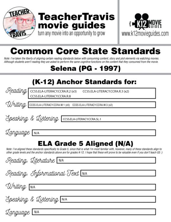 Selena Movie Guide | Questions | Worksheet | Google Forms (PG - 1997) CCSS Alignment
