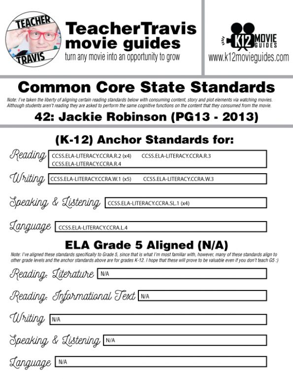 42: Jackie Robinson Movie Guide   Worksheet   Questions   Google (PG13 - 2013) CCSS