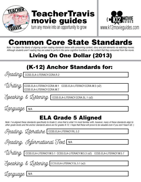 Living On One Dollar Movie Guide | Questions | Worksheet | Google Form (2013) CCSS Alignment