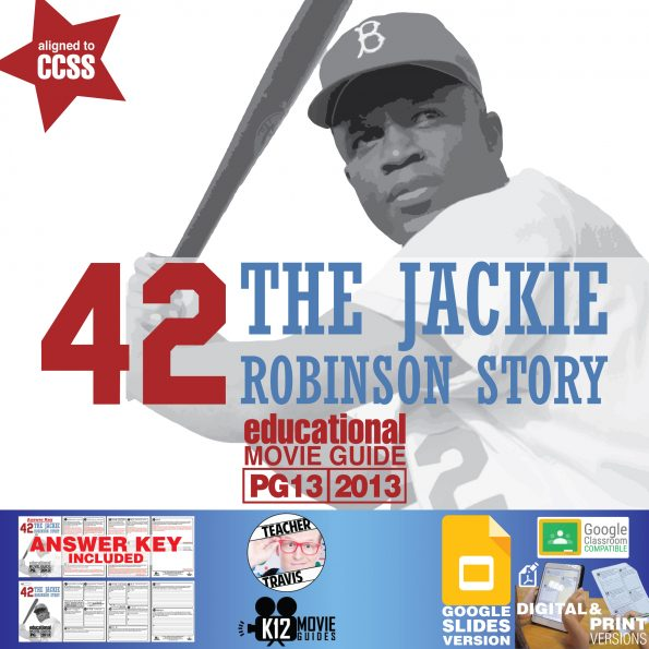 42: Jackie Robinson Movie Guide   Worksheet   Questions   Google (PG13 - 2013) Cover