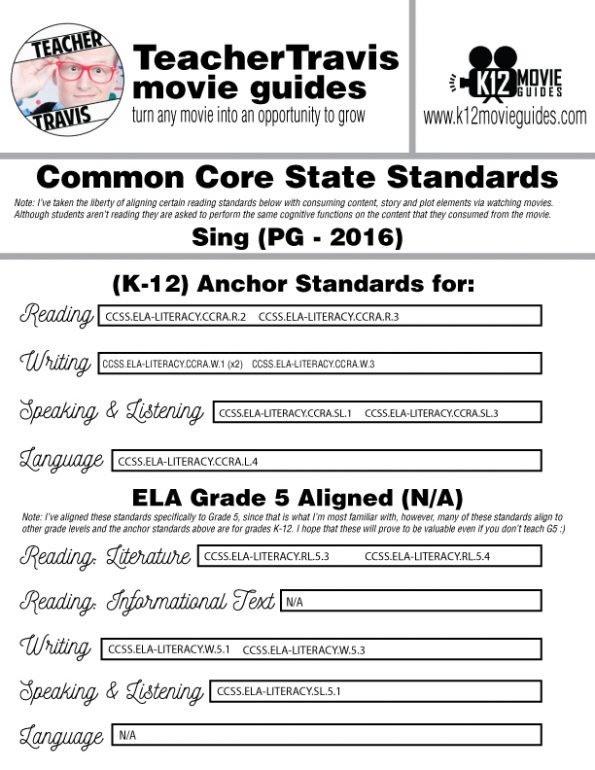 Sing Movie Guide | Questions | Worksheet (PG - 2016) CCSS Alignment