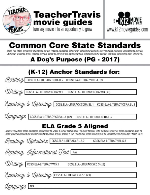 A Dog's Purpose Movie Guide | Questions | Worksheet (PG - 2017) CCSS Alignment
