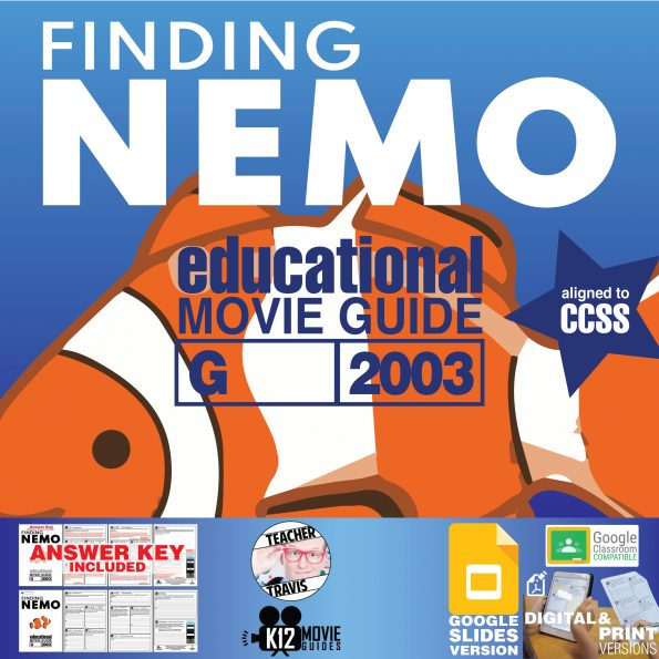 Finding Nemo Movie Guide   Worksheet   Questions   Google Slides (G - 2003) Cover