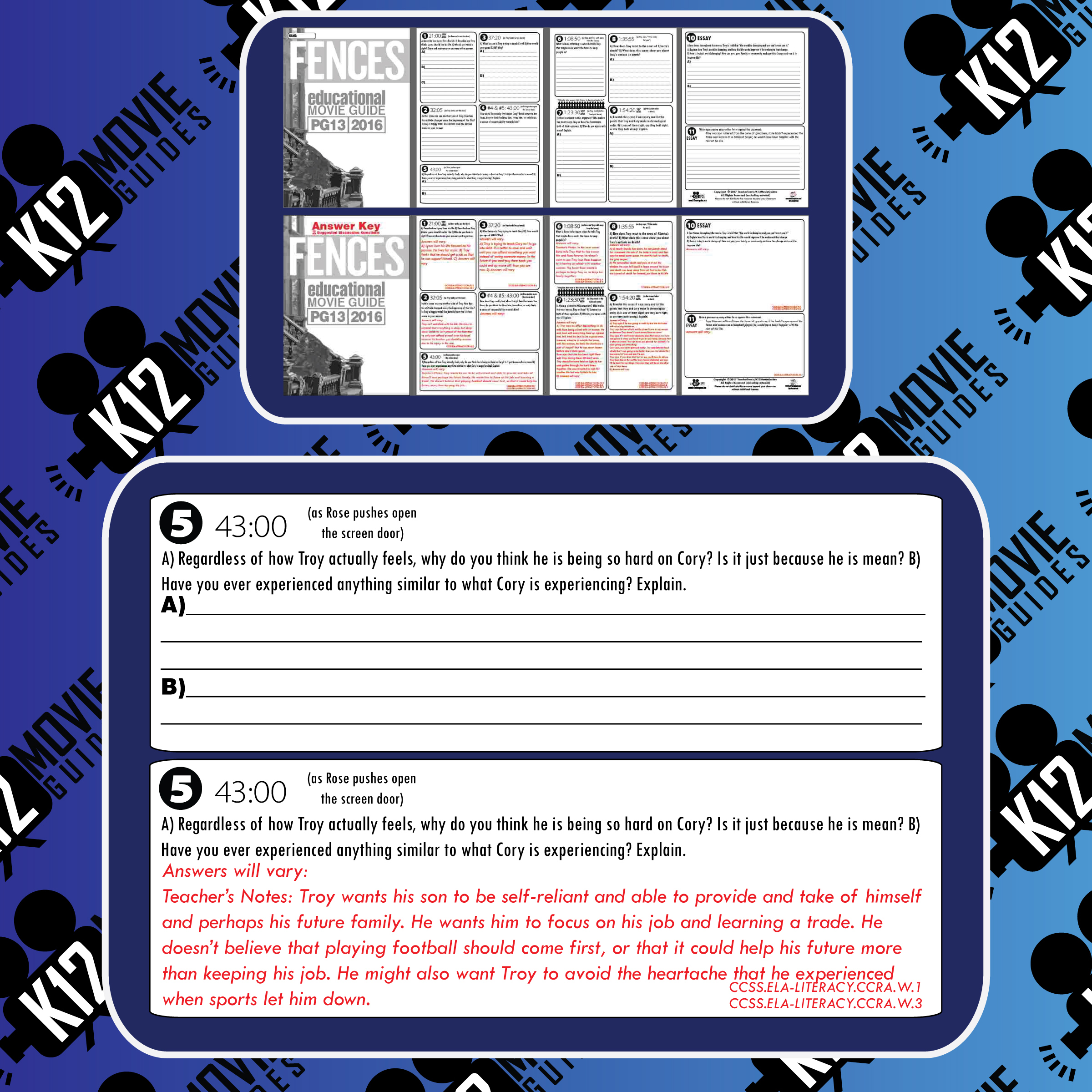 Fences Movie Viewing Guide | Questions | Worksheet | Google Forms (PG13 - 2016) Free Sample