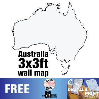 Australian Continent Wall Map | Collaborative Mural | 3x3ft Poster
