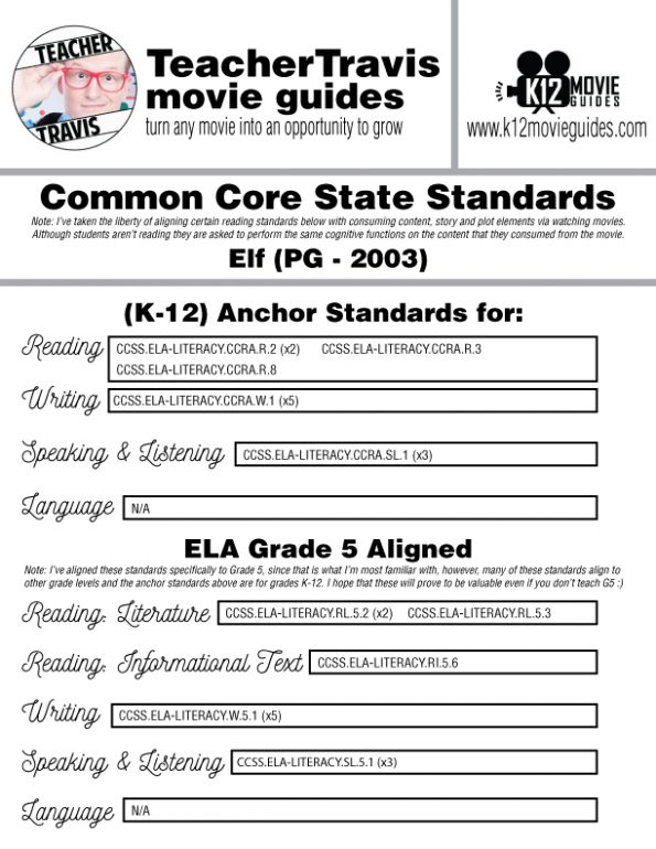 Elf Movie Viewing Guide | Questions | Worksheet | Google Form (PG - 2003) CCSS Alignment
