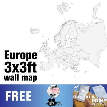 European Continent Wall Map | Collaborative Mural | 3x3ft Poster