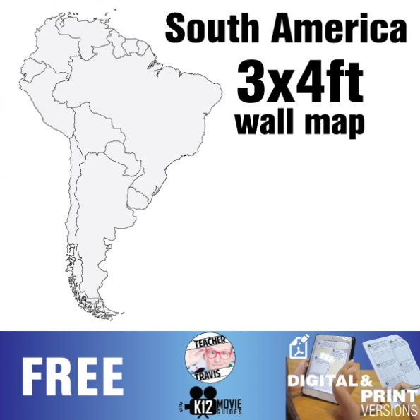 South American Wall Map | Collaborative Mural | 3x4ft Poster