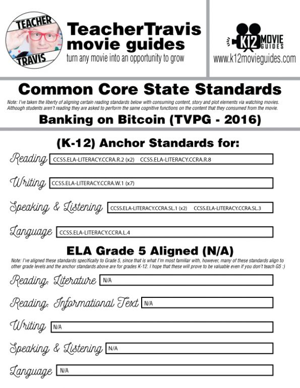 Banking on Bitcoin Movie Guide | Questions | Google Form (TVPG - 2016) CCSS Alignment