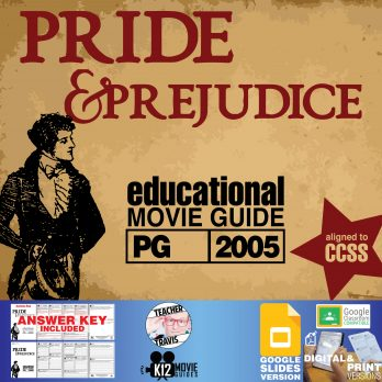 Pride and Prejudice Movie Guide | Worksheet | Questions | Google Classroom (PG - 2005) Cover