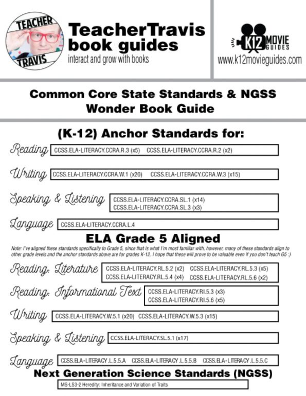 Wonder Book Study Guide - Chapter by Chapter High-Level Questions - Google Form - CCSS Alignment