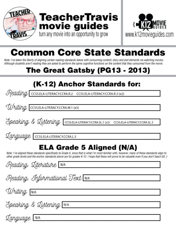 The Great Gatsby Movie Guide | Questions | Worksheet (PG13 - 2013) CCSS Alignment