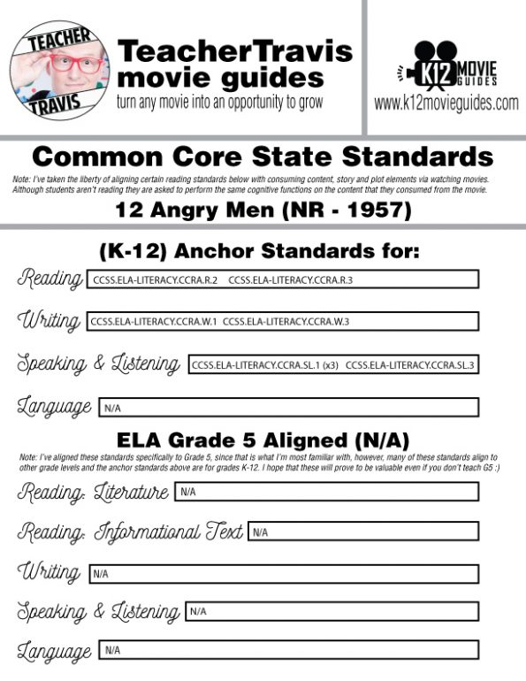 12 Angry Men Movie Guide | Questions | Worksheet (NR - 1957) CCSS Alignment