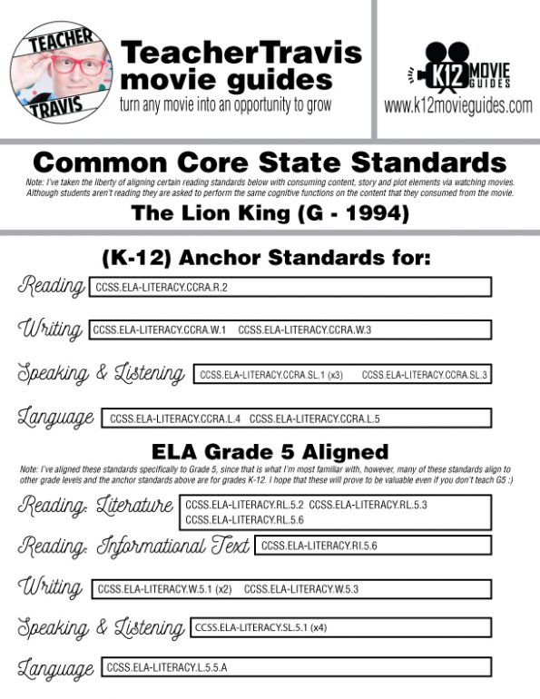 The Lion King Movie Guide | Questions | Worksheet (G - 1994) CCSS Alignment