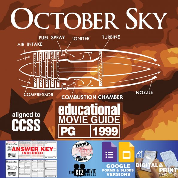 October Sky Movie Guide | Questions | Worksheet | Google Formats (PG - 1999) Cover