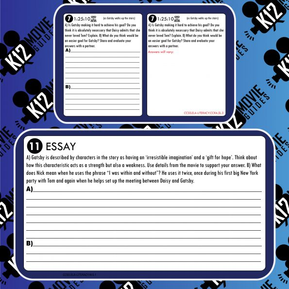 The Great Gatsby Movie Guide | Questions | Worksheet (PG13 - 2013) Free Sample