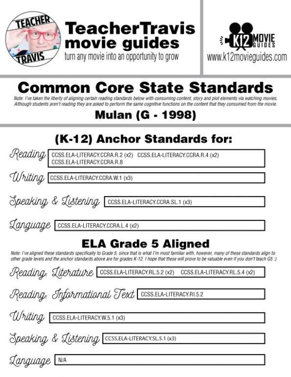 Mulan Movie Guide | Questions | Worksheet | Google Form (G - 1998) CCSS