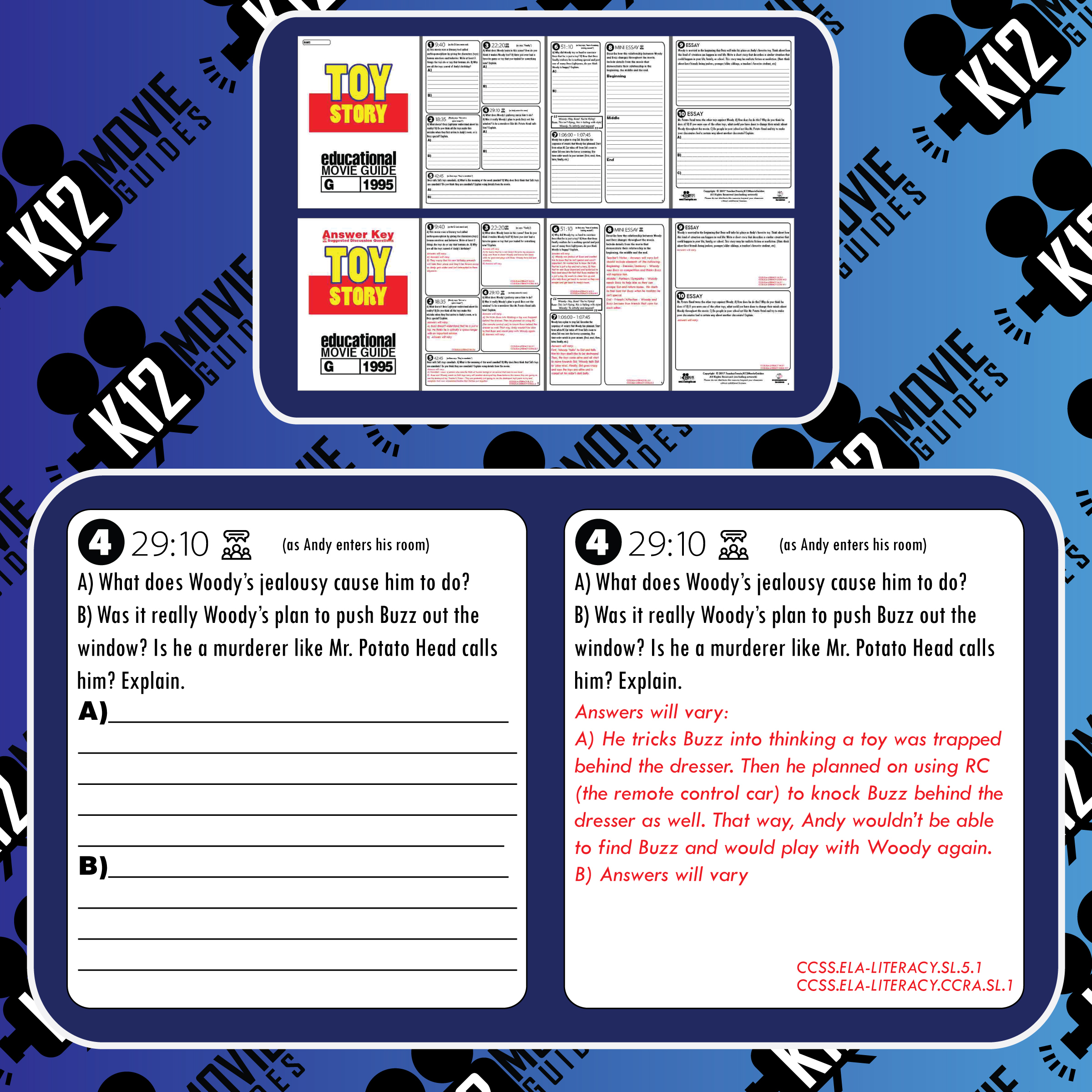 Toy Story Movie Guide | Questions | Worksheet | Google Form (G - 1995) Free Sample