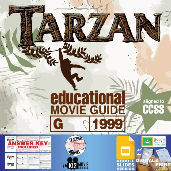 Tarzan Movie Guide   Worksheet   Questions   Google Slides (G - 1999) Cover