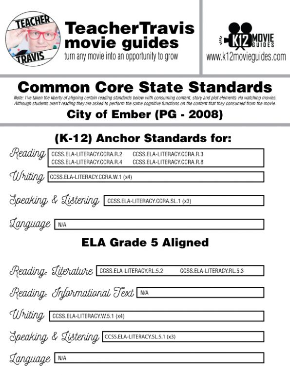 City of Ember Movie Guide | Questions | Worksheet | Google Form (PG - 2008) CCSS Alignment