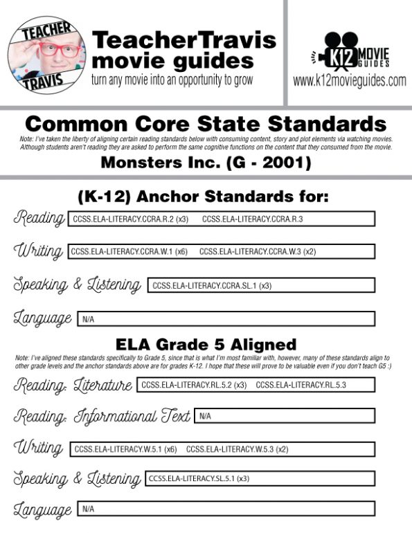 Monsters, Inc. Movie Guide | Worksheet | Questions | Google Form (G - 2001) CCSS