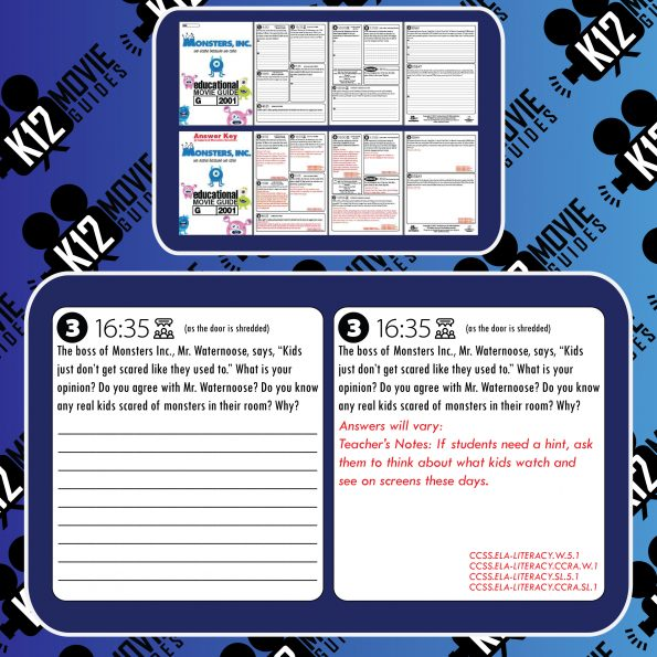 Monsters, Inc. Movie Guide   Worksheet   Questions   Google Form (G - 2001) Free Sample
