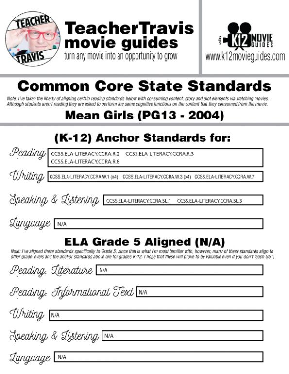 Mean Girls Movie Guide   Questions   Worksheet   Google Forms (PG13 - 2004) CCSS Alignment