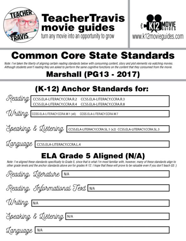 Marshall Movie Guide | Worksheet | Questions (PG13 - 2017) [Thurgood Marshall] CCSS