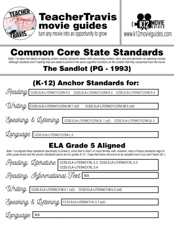 The Sandlot Movie Guide | Questions | Worksheet (PG - 1993) CCSS Alignment