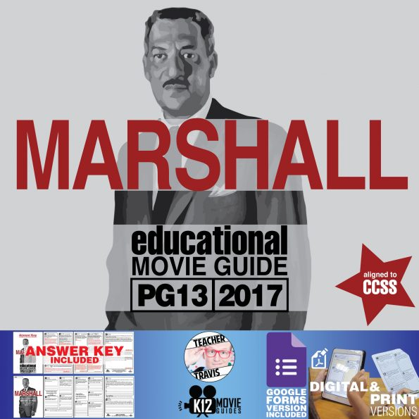 Marshall Movie Guide | Worksheet | Questions (PG13 - 2017) [Thurgood Marshall] Cover