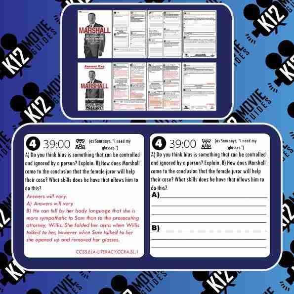 Marshall Movie Guide | Worksheet | Questions (PG13 - 2017) [Thurgood Marshall] Free Sample