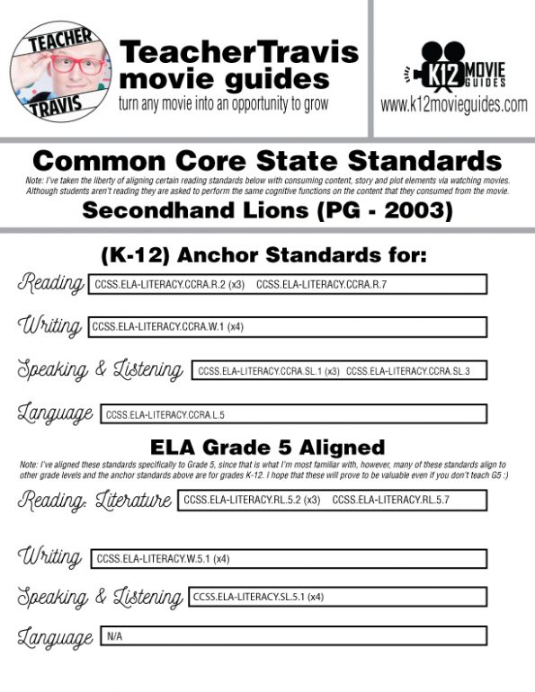 Secondhand Lions Movie Guide | Worksheet | Questions | Google Forms (PG - 2003) CCSS