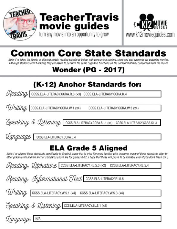 Wonder Movie Guide | Film Questions | Worksheet | (PG - 2017) CCSS Alignment