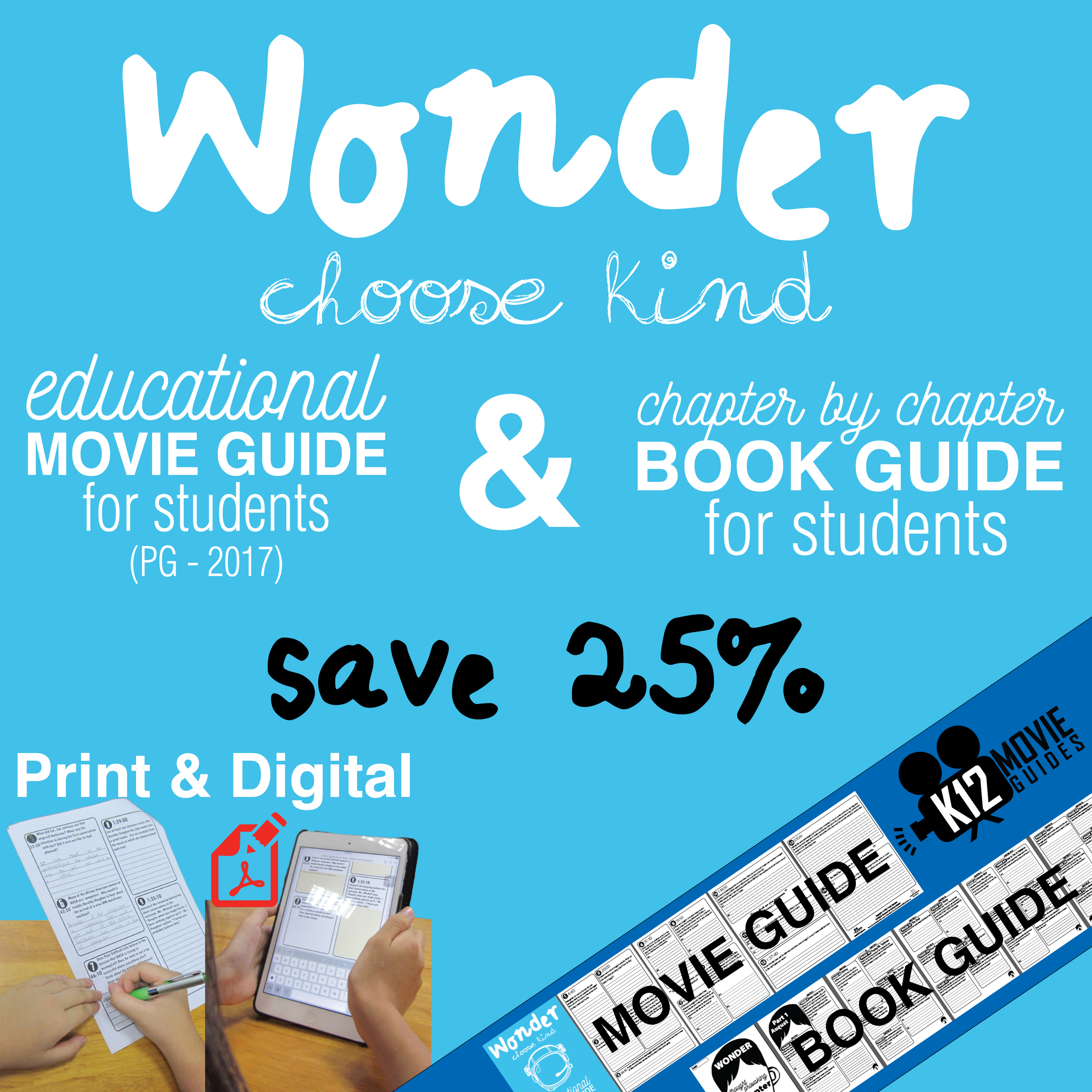 Wonder Movie and Book Study Guide Bundle Cover