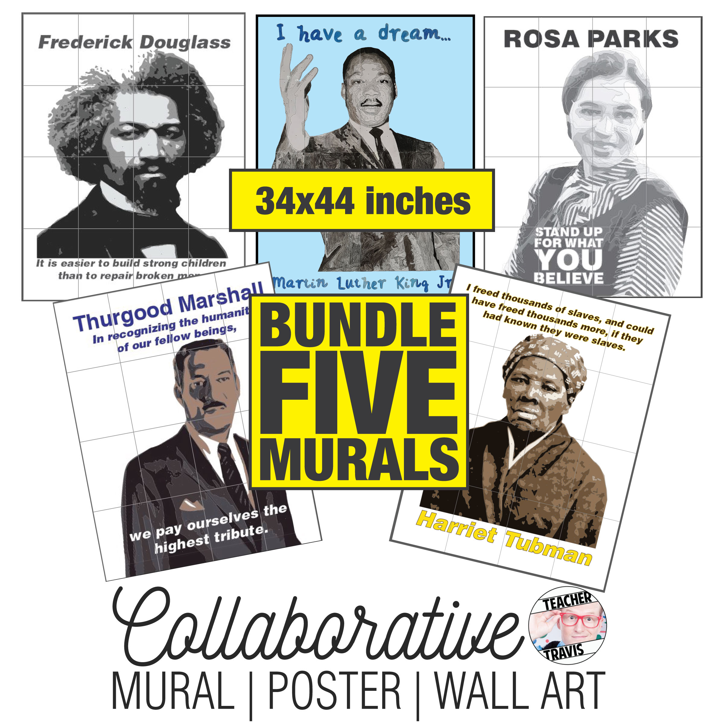 Five Collaborative Murals | Black History Month Art Project Bundle