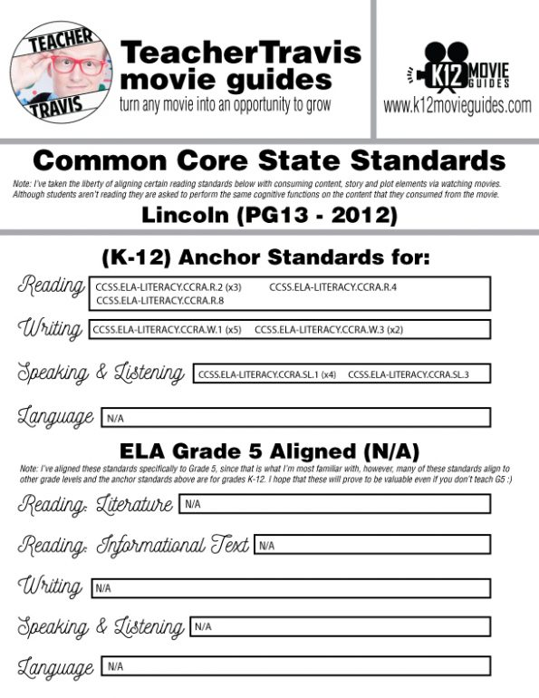 Lincoln Movie Guide | Questions | Worksheet | Google Form (PG13 - 2012) CCSS Alignment
