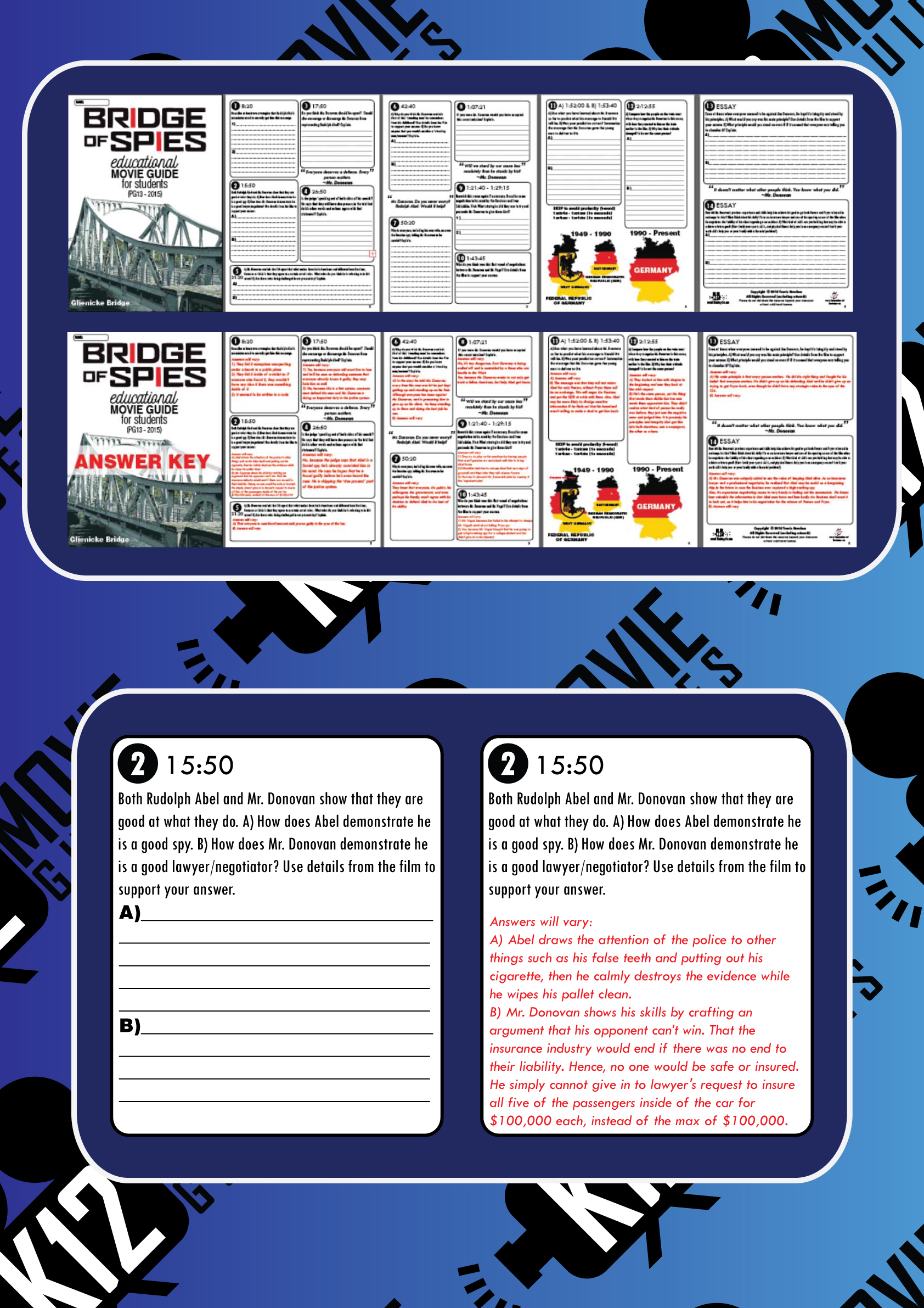 Bridge of Spies Movie Guide | Questions | Worksheet (PG13 - 2015) Sample