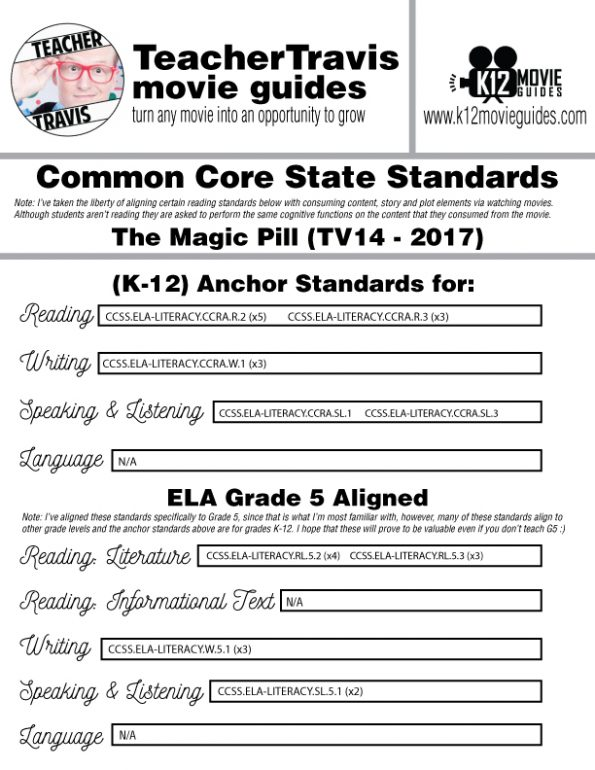 The Magic Pill Movie Guide | Questions | Worksheet (TV14 - 2017) CCSS Alignment