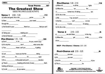 The Greatest Show - Guess the Song Lyrics - The Greatest Showman CLOZE Activity Sample